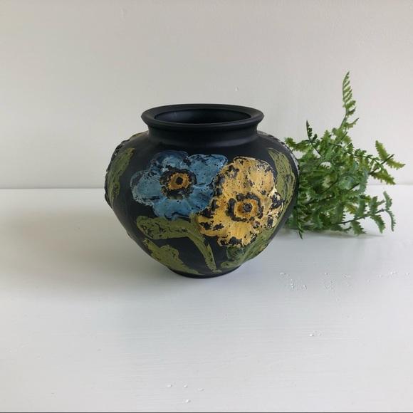 Black Satin Glass Vase Coralene Flowers